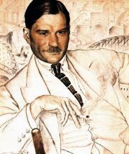 Е. Замятин. 1923 год, картина Кустодиева